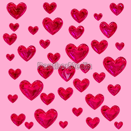 glass red hearts