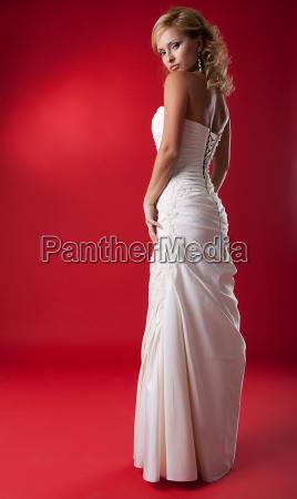 lovely fashion model blonde in white