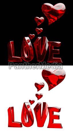 set of word love with hearts