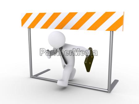 businessman running below obstacle