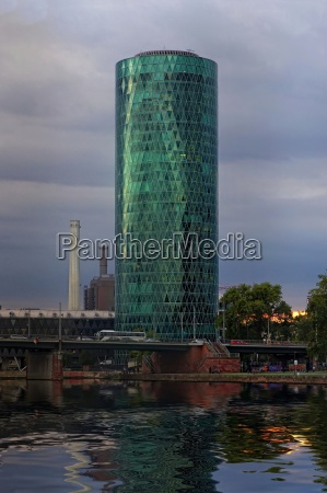westhafentower with water reflection of the