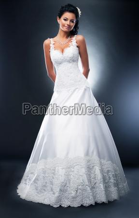 beautiful bride brunette fashion model in