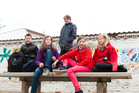 schoolchildren in a schools pause yard