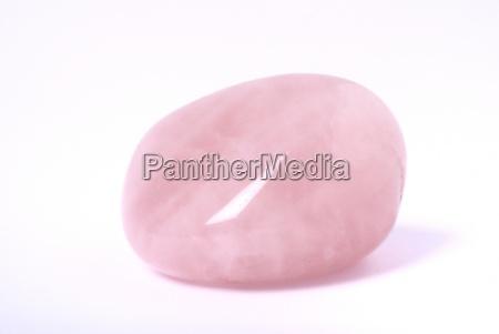 rose quartz on white
