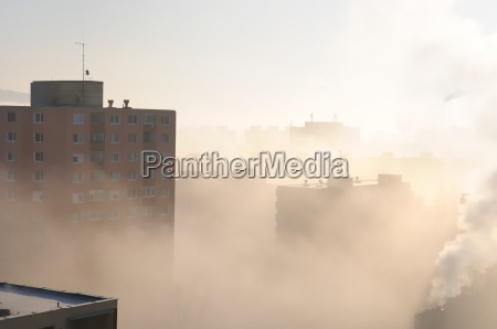 residential area in fog and smog