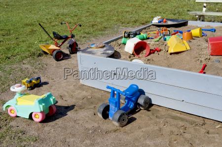 toys in sandbox
