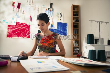 hispanic woman doing budget in fashion
