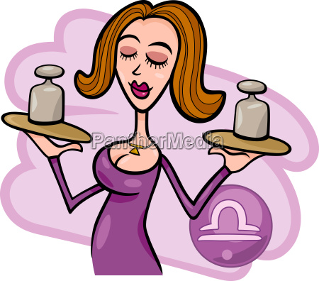 woman cartoon illustration libra sign
