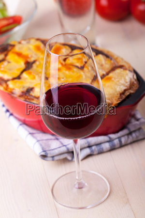 red wine with lasagna