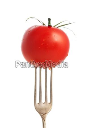 tomate auf einer gabel isoliert auf