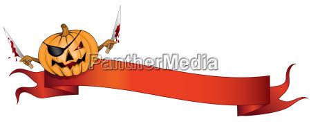 pirate pumpkin halloween banner