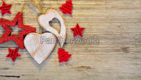 christmas wooden heart star