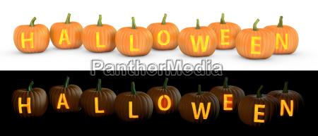halloween text carved on pumpkin jack
