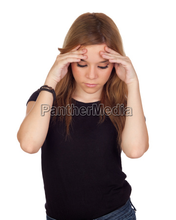 aggressive woman with migraine