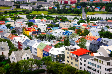 reykjavik city bird view of colorful