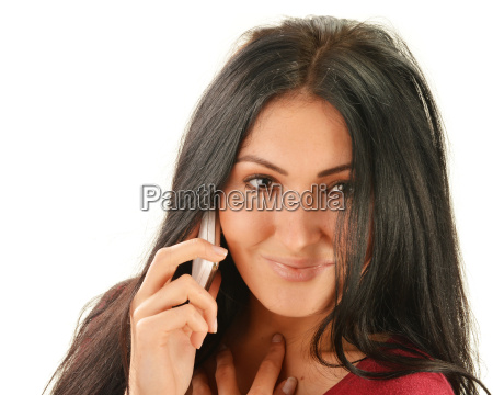 young woman having telephone conversation isolated