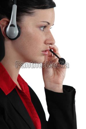 call center employee wearing a headset