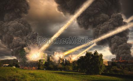 apocalypse meteorite shower over paris france