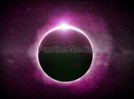 eclipse over the planet earth