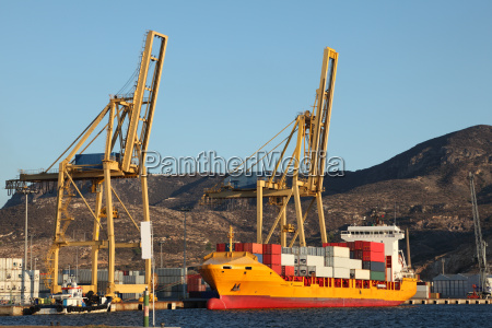 container ship in the port of