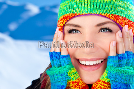 happy smiling girl portrait winter fun