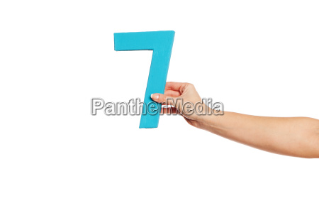 hand holding up the number seven
