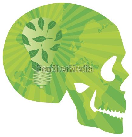 skull think green with lightbulb illustration