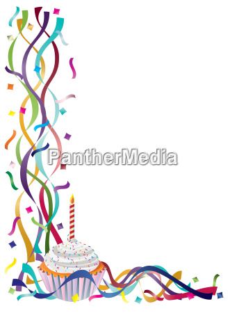 birthday cupcake with ribbons and confetti