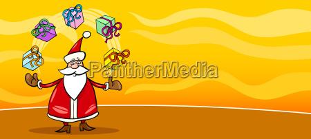santa claus and presents cartoon card