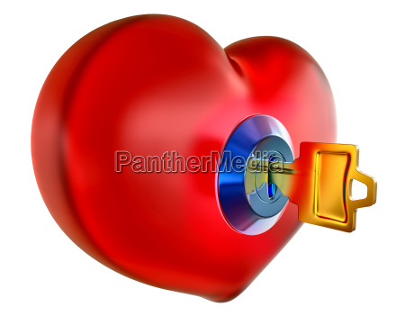red heart with golden key