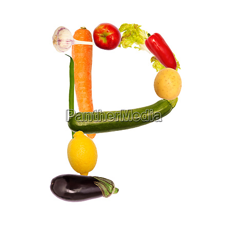 letter p from different fruits and