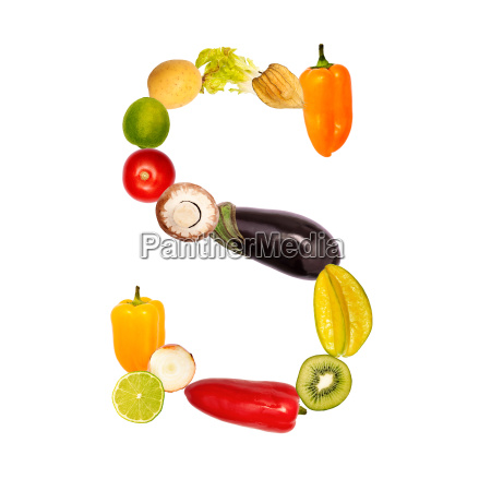 letter s from various fruits and