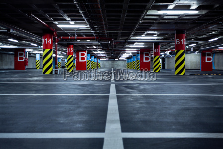 parking garage in basement underground interior