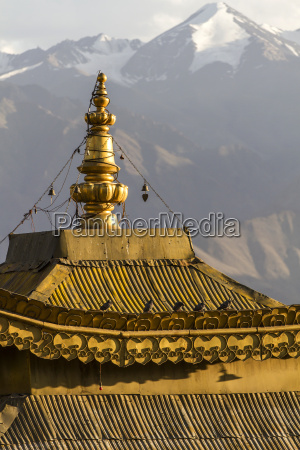 temple roof in northern india ladakh