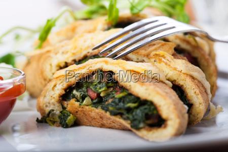 spinach omelet sliced