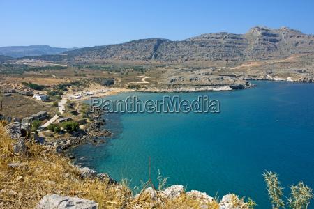 seaside landscape in rodos agathi
