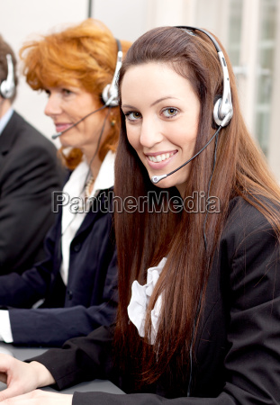 team calls in call center with