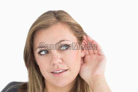 woman making the sign of listening
