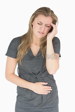 sick woman feeling bad in the