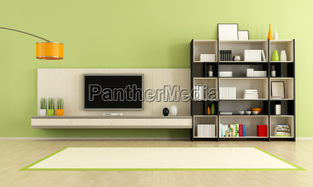 green living room with tv