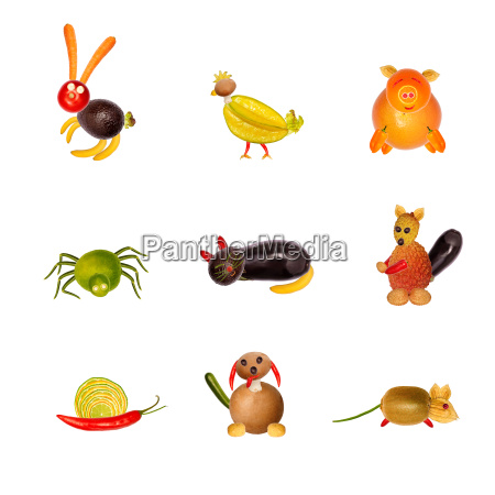 various animals from fruits and vegetables