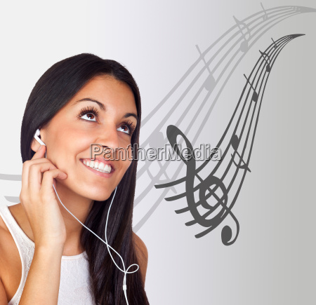 casual young girl listening music