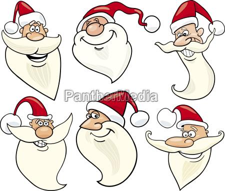 cheerful santa claus cartoon faces icons