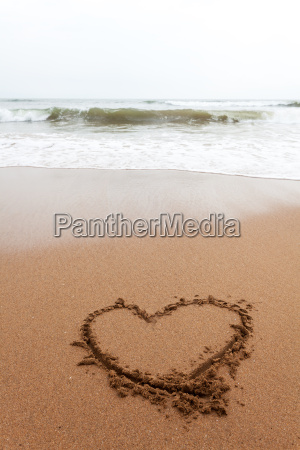 heart as drawing in the sand