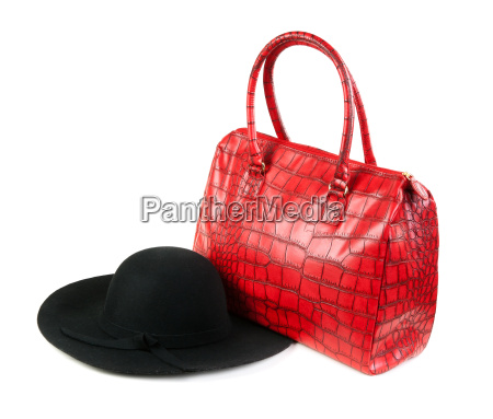 red fashion ladies handbag and a