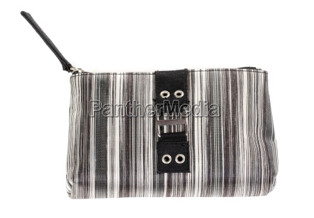 black clutch bag on white
