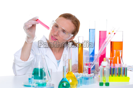 chemical laboratory scientist woman with test