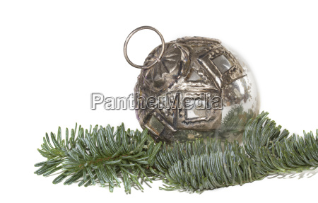old christmas tree ball and fir