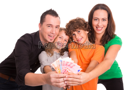 family with money in hands