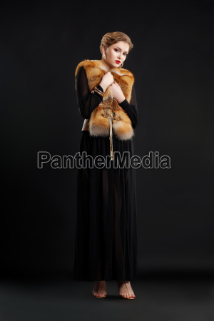 fashion model in black dress and